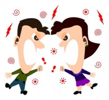 Couple fighting cartoon